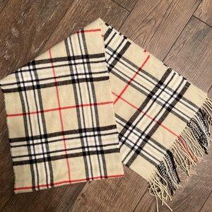 100% Cashmere Scarf/ Tartan Stripe Plaid Design